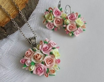 roses earrings, flowers earrings, rose pendant, rustic jewelry, rustic earrings, roses jewelry,  cold porcelain, bridesmaids gift, bride set