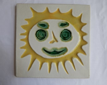Mid Century Modern Bennington Potters Vermont Yellow and Green Sun Face Tile Trivet Designed by David Gil