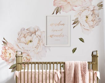 Peony Flowers Wall Sticker, Vintage Peach Watercolor Peony Wall Stickers - Peel and Stick Removable Stickers