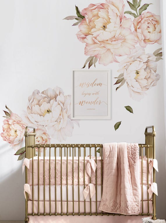 Peony Flowers Wall Sticker, Vintage Peach Watercolor Peony Wall Stickers   Peel And Stick Removable Stickers by Etsy