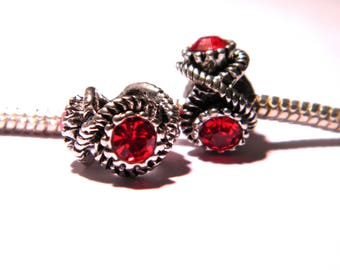 bead charm European - 3 Red rhinestones - 12 x 8.5 mm compatible pandora-PG146