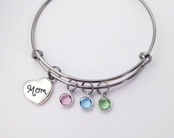 Mom Gift, Mom Birthday Gift, Birthstone Bracelet, Gifts for Mom, Mom Jewelry, Mom Gifts, Family Bracelet, Mothers Day Gift from Daughter Son