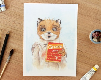 5x7 Ash. Fine Art Archival Print. Fantastic Mr Fox. Wes Anderson Fan Art