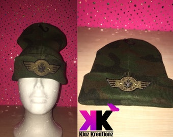 Camouflage Hat W/ Army Wing Patches