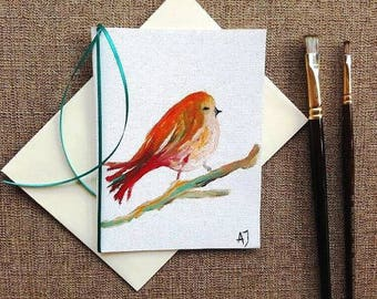 Bird card Oil painting on canvas Bird art Hand made greeting card Hand painted card Hand made card Hand painted greeting card Art original