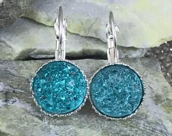 Aqua Druzy Earrings - Druzy - Leverback Earrings - Aqua Earrings - Drop Earrings - Drusy - Bridesmaid Earrings - Flower Girl Gift - Jewelry