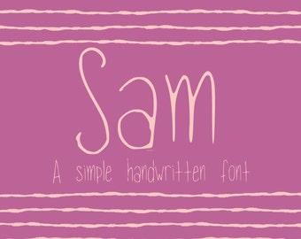 Sam handwriting font - handwritten print font - TTF font file typeface digital font, digital typeface, handwritten font, handwriting font