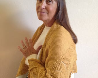 Hand Knit Sunflower Yellow Natural Fiber Shawl With Flower Edging