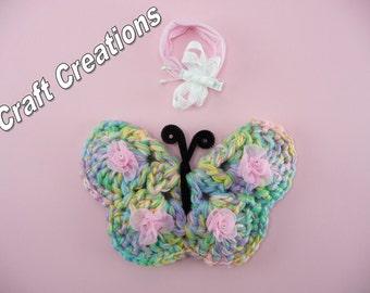 BUTTERFLY PHOTO PROP with Headband Butterflies Wings Pastels Spring Nursery Wall Decor Crochet Baby Girl