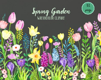 Spring Clip Art, Watercolor Clipart Spring Garden, spring flower meadow, flower border for instant download for greeting cards