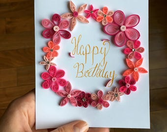 Birthday Card, Quilling, Greeting cards, Quilling art, Paper Flowers, Paper Quilling,  Handmade Cards