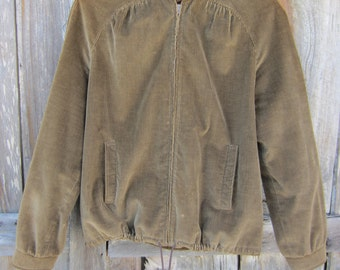 70s Brown Corduroy Utility Jacket by Intuitions, Women's S // Lined Corduroy Coat