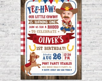 Cowboy Invitation with picture, Pony Birthday Invitation, Boy First Rodeo Birthday Invitation, Horse Party Invites, DIGITAL, 2 Options