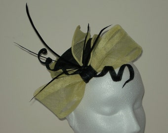 """PILLBOX HAT in black and primrose yellow sinamay with black goose biot feathers - Model name """"ZIA"""""""