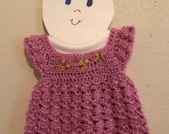 Precious Handmade Crochet Baby Dress With Embroidery Flowers On Yoke.  Newborn to 4 Months