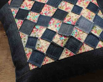 Sofa patchwork pillowcase. Upcycled denim cushion. Blue and red pillow home decor. Recycled jeans denim pillow.