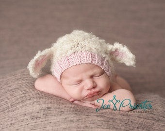 Lamb baby hat bonnet hand knit curly hat newborn photo prop cream white ivory ecru light pink girl animal beanie with ears