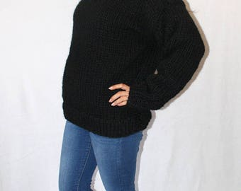 To order !!! Chunky thick knit turtleneck sweater 100% pure icelandic lopi wool hand knitted iceland jumper for men for woman by Strickolino