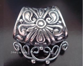 Bali Silver Bail, 925 Sterling Silver Slider, 17x8.5x18 mm, hole 8.4mm, Oxidized