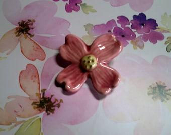 Vintage pink Dogwood blossom pin