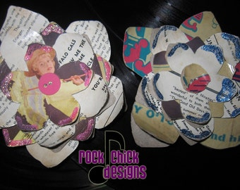 Hair Flower, Record Jacket - Gay 90s, 4.5 inches, pin-up inspired -- repurposed, creative reuse, rock chick designs, humboldt made