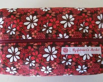 Large knitting box bag- Red Daisies
