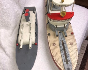 Very  rare keystone wooden B-22 battleship comes with smaller ship