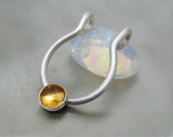 silver faux septum ring / septum cuff - fake nose ring / silver septum cuff