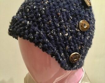 hat, hand knitted hat, retro hat,flapper style, cloche, dark blue Hat, cloche with button