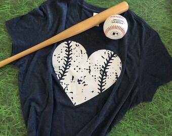 Baseball Mom Shirt/Baseball Heart/Womens Baseball Tee/Womens Tri~Blend Crew Neck Tee