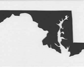 Maryland State Stencil Made from 4 Ply Mat Board-Choose a Size-From 5x7 to 24x36