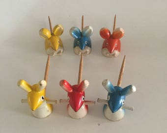 Sweden Wood Mice Cheese Servers Hors d'oeuvres/Wooden Mice/Tooth Pic's/ Rabbit Pic's/Mid Century Rabbit and Mice/ c.1960s  By Gatormom13