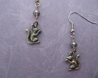 Brass Squirrel Charm Earrings
