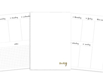 B6 May Weekly Printable Insert - TN - Plain Cover