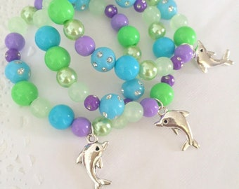 Dolphin bracelet, dolphin jewelry, under the sea party favor, kids, jewelry, bracelet, beaded bracelet, bracelet favor. Set of TEN.