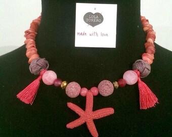 Necklace star pompom