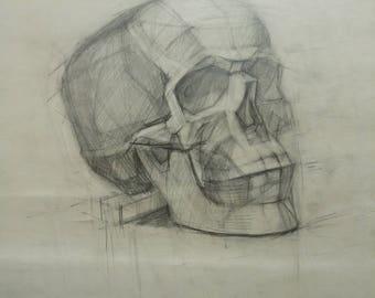 Original skull drawing,academical anatomy drawing,Vintage pencil drawing,Dark tone picture,pencil,paper,Gift,Human Skull,classical sculpture