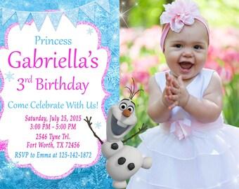 Frozen Olaf Invitation, Frozen Olaf Birthday, Frozen Olaf Party