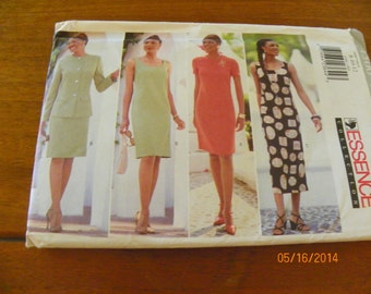 Vintage 1996 Butterick Essence Collection 4500 Sewing Pattern Misses'/Misses' Petite Jacket and Dress, Size 8 - 10 - 12.