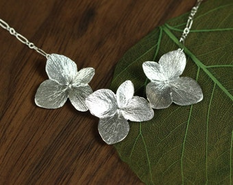 Three Hydrangea Necklace in Sterling Silver