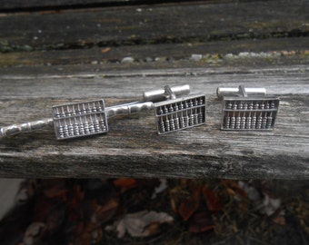 Vintage Sterling Abacus Cufflinks, Tie Clip Set. Gift For Groom, Groomsmen, Dad, Wedding, Anniversary, Christmas, Birthday, Father's Day.