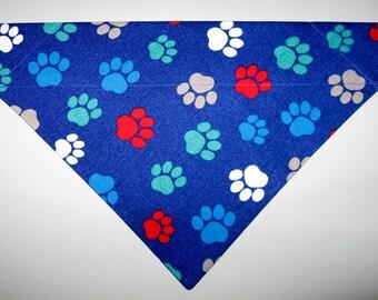 Dog Paw Prints Blue Dog Bandana Scarf-Double Sided/Slide over Collar-Size Small, Medium, Large, X-Large