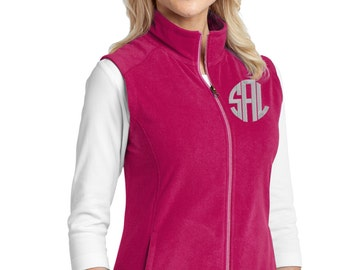 Monogram Fleece Vest - Personalized Vest- Plus Size Monogram Vest - Ladies Monogrammed Vest - Sweater Vest - Christmas Gift