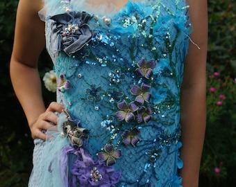 Stardust Romantic lace dress Bohemian hand beaded dress Wearable art Boho dress Feminine dress blue lace dress tatered art to wear