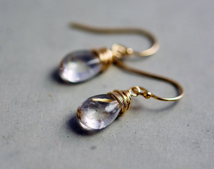 Rutilated Quartz Gold Earrings Gemstone Dangle