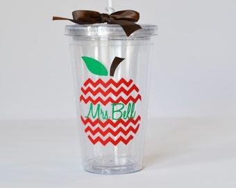 Personalized Teacher Gift- Chevron Apple Tumbler - Teacher Appreciation Gift - Personalized for Free