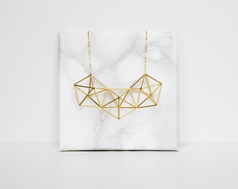 PENTA necklace. Himmeli statement necklace. Structural, geometric necklace. Silver or gold tone.