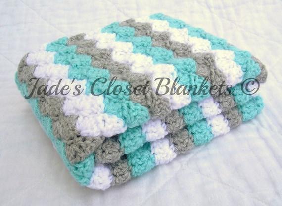 Crochet bebé manta afgano de bebé blanco gris gris y azul
