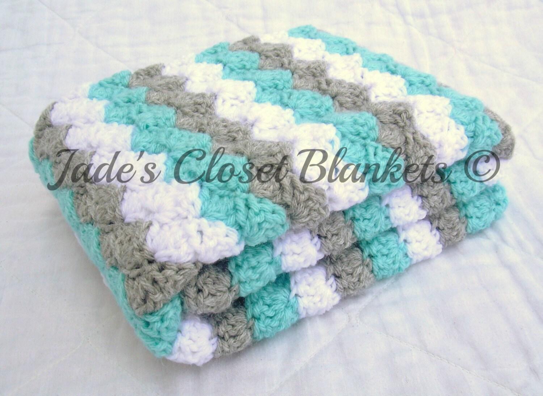 Häkeln Sie Babydecke Baby Decke weiß grau grau und blau