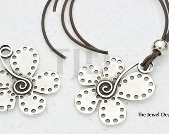 Funky Spiral Daisy Pendant - Charm -  Finding - Antique Silver - Sterling Silver Plated Findings - Necklace - Focal Bead - Qty. 1